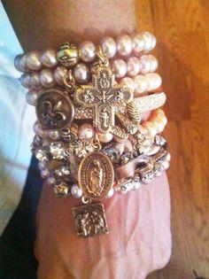 stacked bracelets, bead, charm bracelets, honesti jewelri, pearl bracelets, jewelry bracelets, religious jewelry, crochet necklace, arm candies