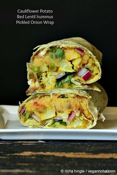 Vegan Richa: Gobi Aloo Wrap - Cauliflower Potato, Toasted Red Lentil hummus, Pickled Onion Wrap. Vegan Recipe