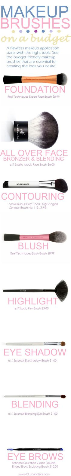 Makeup Brushes on a Budget...love love the real techniques and elf fan brush