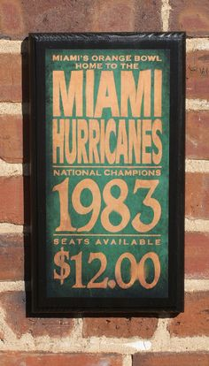 University of Miami Hurricanes Vintage Style Wall by CrestField, $28.00