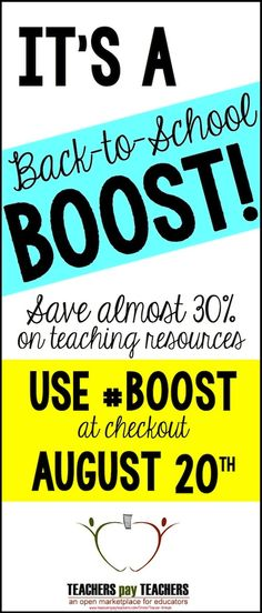 It's a @TeachersPayTeachers site-wide SALE! Tomorrow only - save almost 30% on teaching resources and materials to boost yourself back to school. :)