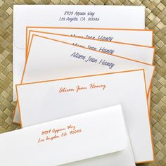 Tangerine Hand-Bordered Note Cards