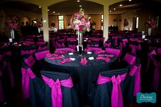 Black and pink wedding decor. Navy & pink would be better.