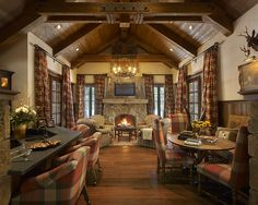 Nestled in the pines, this mountain retreat evokes the feel of a vintage hunting lodge.