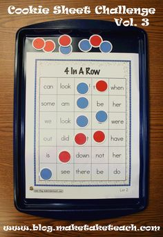 4-In-A-Row activity is great for practing sight words. You'll need two players for this game. Players try to get 4 chips of their color in a row before their opponent.