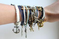 arm party, charm bracelets, accessori, bow, nautical theme, arm candies, key, anchor, leather bracelets