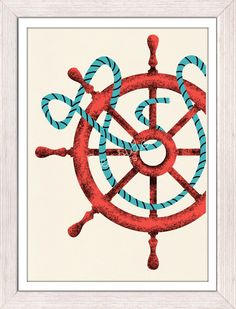 Nautical print poster Vintage Ship Wheel sea by seasideprints