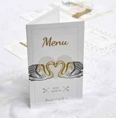 MENU Chic, Élégant, Moderne, Cygne, Décoration de table, Blanc et ...