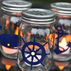 Nautical Mason Jar Lantern Tutorial- Turn your old mason jars into patio lighting!  - Suburble.com