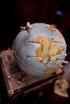 Globe world travel cake