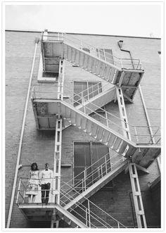 fire escape engagement photo