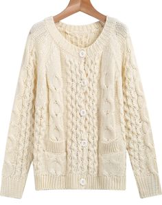 Great, classic ivory cable sweater.