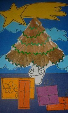 Arbre de nadal amb punxa de llapis. Sílvia 13 anys.