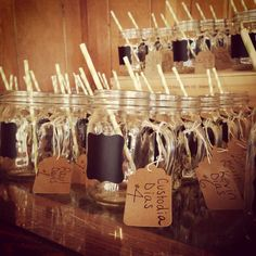 Rustic favors and escort cards