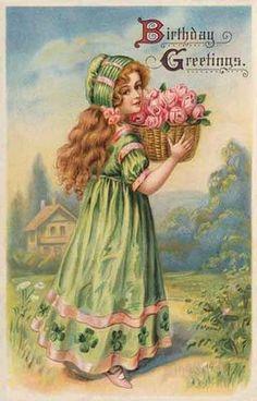 vintage postcards, birthday wishes, happy birthdays, greet card, vintag card