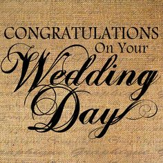 Congratulations WEDDING DAY