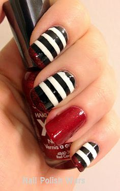 Wizard of Oz: Wicked Witch of the East! This blog has some really fun wizard of oz nails! Nails Art, Ruby Slippers, Red Carpets, Black White, Nails Polish, Wizards Of Oz, Stripes, Wicked Witches, Halloween