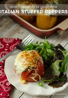 Slow Cooker Italian Stuffed Peppers #paleo #primal #grainfree