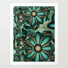 Fractal 33 Steampunk Art Print by Louise Wagstaff - $15.60