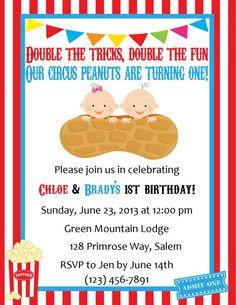 Twins Birthday Invitation - Circus Themed (Digital File) on Etsy, $12.00