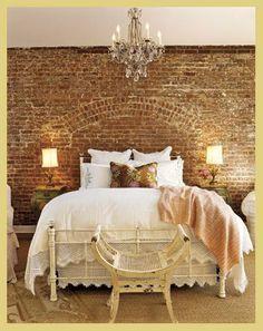 decor, romantic bedrooms, brick wall, bedroom walls, master bedrooms, hous, dream bedrooms, exposed brick, country homes
