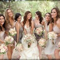 mismatched bridesmaids #weddings #gowns #bridesmaids