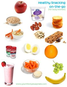 Here are some quick, low-calorie snacks for on-the-go and at home.