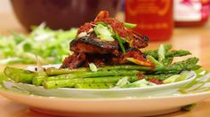 Grilled Sweet-and-Sticky Chicken, Asparagus and Harissa
