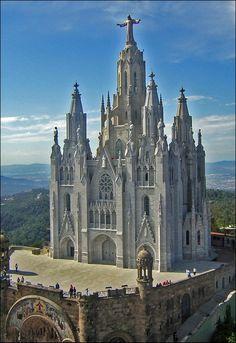 The Temple Expiatori del Sagrat Cor is a Roman Catholic Church on Mt. Tibidabo, Barcelona, Catalonia, Spain by Girang