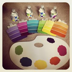 Kids art party placemats, napkin holder and water bottles