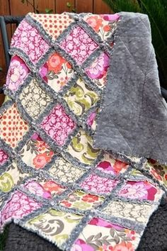 rag quilt – minky (for back), flannel (for batting) and cotton squares, 2.5 yards of each layer