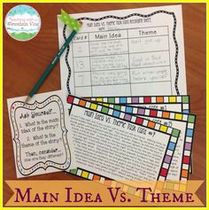 Teaching Main Idea Vs. Theme.  Main idea and Theme Task Cards. $