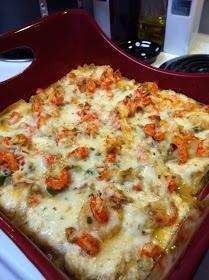 Cajun lasagna I would use spicy sausage!