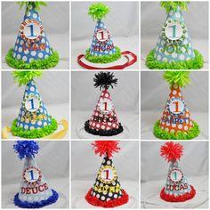 Personalized 1st Birthday Party Hat Boy by CardsandMoorebyTerri, $14.00