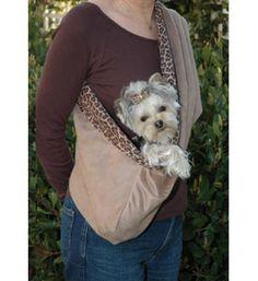 Dog Sling Designer Hipster Luxury Suede Fawn/Leopard.