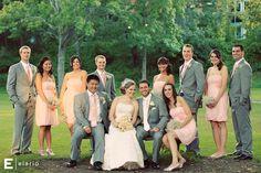 This is the look - light pink bridesmaid dresses, light grey groomsmen suits #weddings #springweddings #greysuit