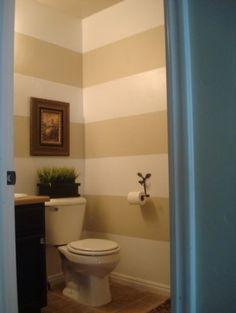 decor, half baths, horizont stripe, small bathrooms, bathroom designs, bathroom ideas, striped walls, stripes, wall design