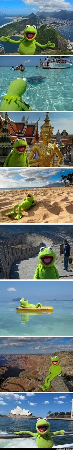 Kermit travels the world