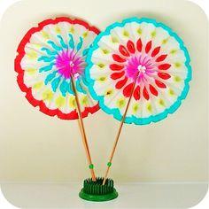 parti decor, paper fan, japanese party, fans, fandream car, diy decor, graduation parties, kid, paper rosettes