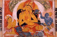Painting of Manjusri Bodhisattva. Sanskrit Astasahasrika Prajnaparamita Sutra manuscript written in the Ranjana script. Nalanda, Bihar, India. Circa 700-1100 CE.