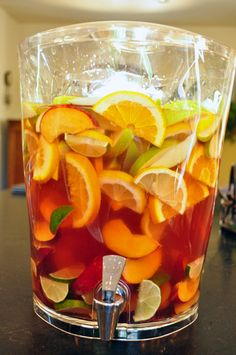Peach Sangria  Made this yesterday and it was delicious! I left out the sugar and water and I used peach mango juice instead of peach schnapps :)