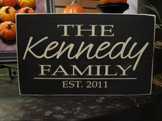 Personalized Family Name & Established Date hand painted wood sign with vinyl lettering - Style FA14.