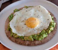 pita, smashed avocado, fried egg.