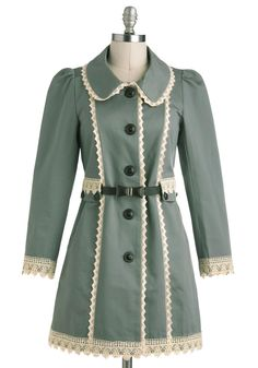 Wishing Well Acquainted Coat - 2, Green, White, Buttons, Trim, Long Sleeve, Casual, Vintage Inspired, Fall