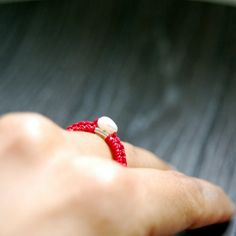 Pearl in red  silver and silk ring by lunaticart on Etsy, €29.00
