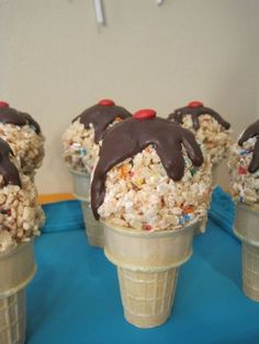 Rice Krispy treat Ice Cream cones - Rice Krispy's made with sprinkles, mound up to look like ice cream on top of cone, drizzle with melted chocolate, add red M (or sixlet) for the cherry.  Would be a cute snack for the kids to take to Awana's on their birthdays
