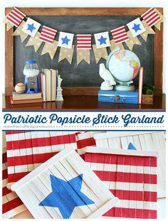 Patriotic Popsicle Stick Garland thecraftedsparrow.com