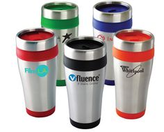 "Everyone will just drink up your next marketing campaign with this customized 16 oz. Brite-Rite Travel Tumbler! It features a double wall construction with a thumb-slide closure. The outer shell is made of stainless steel and the inner liner is plastic. It offers a custom silkscreened imprint area of 2 ½"" x 1 ½"" and is available in black, blue, green, orange, and red. Perfect for hot and cold drinks.   96 qty : $3.25  1 color 1 location  [ CNRMF-HIQFI ]   Contact dan.dour@dbincorporated.com"
