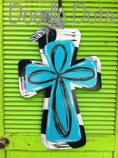 Cross Door Hanger by DoOdLeDotsAnDmOre on Etsy, $25.00