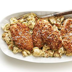 Pecan-Crusted Chicken and Tortellini with Herbed Butter Sauce | SouthernLiving.com